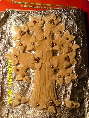 Дерево из соленого теста с бусинками фото 1