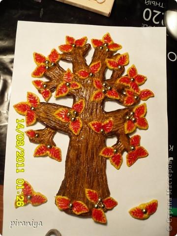 Дерево из соленого теста с бусинками фото 2
