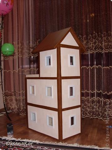 Вот и мой домик в подарок дочке на 8 марта. Сделан по МК Натальи Мостипановой. Смотрите здесь http://stranamasterov.ru/node/143557 . Это вид сбоку.  Домик подключен к аккумулятору. Об этом позже. Можно и в розетку, только нужен блок питания на 12 Вольт. фото 1