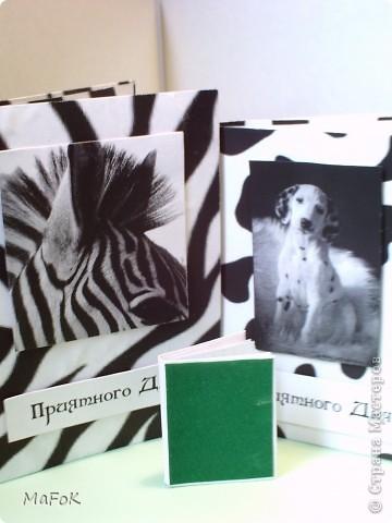 """Вот такие чёрно-белые блокнотики """"Зебра"""" и """"Далматинец"""" у меня получились. Просто у меня принтер только чёрно-белый. фото 1"""