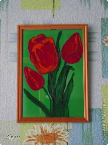 Нарисовано на стекле акриловыми красками. Картину рисовала в подарок маме на 8 марта )