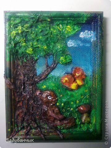 До: Пыталась изобразить сказочный сюжет. Небо, дерево, медвежонок и бабочка. фото 1