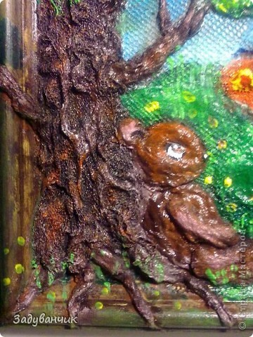 До: Пыталась изобразить сказочный сюжет. Небо, дерево, медвежонок и бабочка. фото 3