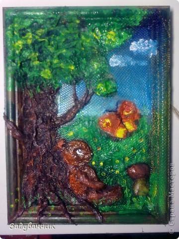 До: Пыталась изобразить сказочный сюжет. Небо, дерево, медвежонок и бабочка. фото 2