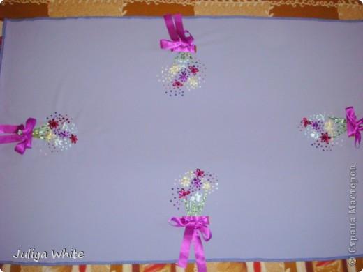 Декоративная Скатерть, вышитая лентами и украшеная бисером) фото 2