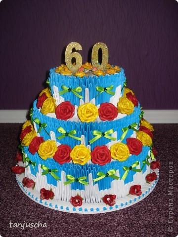 Очередной торт из модулей. Торт состоит из трёх ярусов.  1 ярус в основе 42 модуля 2 ярус в основе 72 модуля 3 ярус в основе 102 модуля. фото 6