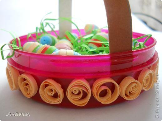 Целый день потратила на такую вот корзиночку с пасхальными яйцами! К сожалению не сфотографировала ход работы, но буду объяснять по ходу дела! фото 2