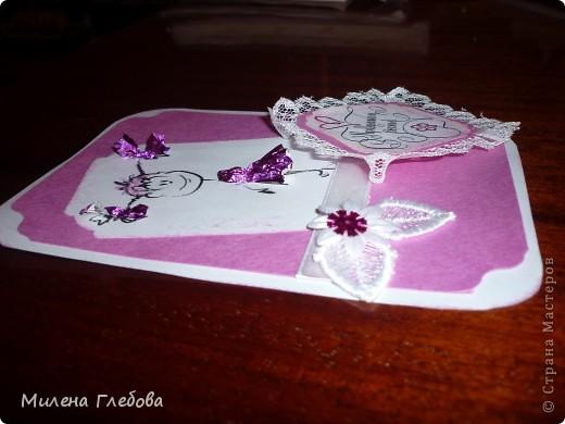 Игра по скетчу 2  Моя вторая открытка.  В своей работе использовала минимум материалов: бумага для пастели, для принтера с распечаткой, кружева ,кусочек ленточки и пайетка. фото 2