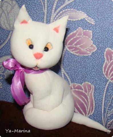 Знакомый попросил меня сделать в подарок одной любительнице кошачьего племени сувенир -кошку. Вот, что получилось. Кошка сшита из капрона, корзиночка- плетение из газет.  фото 2