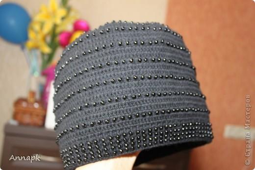 Вот и у меня появилась шапочка с бисером. Большое спасибо Голубке за вдохновение и подробный МК!  фото 1