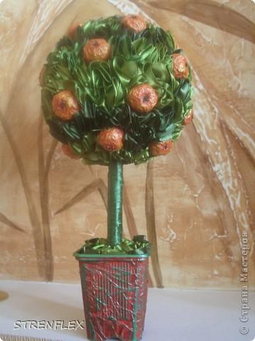 Ну вот! Наконец-то выросло мое экспериментальное атласно-апельсиновое деревце! Затеяла я его еще на 8 мартовские выходные, но закончила только в это воскресенье. И долго ждала солнечной погоды для фото сессии. Но терпеть уже не было сил. Это апельсиновое дерево сделано в подарок на день рождения моей старшей куме. Это деревце должно стать для нее символом удачного замужества и богатства!!! фото 8
