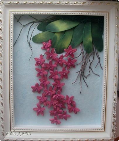 """Вот такая малиновая орхидея получилась в процессе """"мучения"""" работы с курсов. Мучила я работу, а не она меня. )))) фото 1"""
