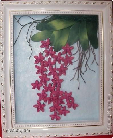 """Вот такая малиновая орхидея получилась в процессе """"мучения"""" работы с курсов. Мучила я работу, а не она меня. )))) фото 4"""