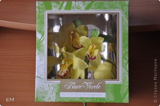 Увидев вот такую коробочку для живых орхидей решила упаковать в неё свою слепленную) Вот думаю...можно в таком виде её подарить? Или что-то не то...? фото 1
