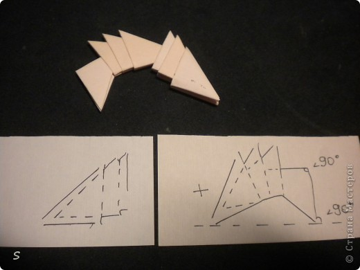 Вот такого маленького красавца мы сейчас будет делать.  Шаг 1: Заготовка. Для этого бумажного скорпиона нам понадобятся 77 модулей 3*4,5 см. Если делать из больших модулей - эффект живого скорпиона не будет достигнут, т.к. чешуйки буду очень большими и неестественными. Модули можно изготовить по данной схеме https://stranamasterov.ru/technic/origami_module?tid=451 . фото 9