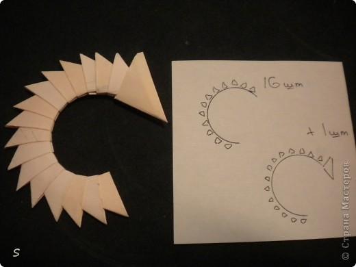 Вот такого маленького красавца мы сейчас будет делать.  Шаг 1: Заготовка. Для этого бумажного скорпиона нам понадобятся 77 модулей 3*4,5 см. Если делать из больших модулей - эффект живого скорпиона не будет достигнут, т.к. чешуйки буду очень большими и неестественными. Модули можно изготовить по данной схеме http://stranamasterov.ru/technic/origami_module?tid=451 . фото 16