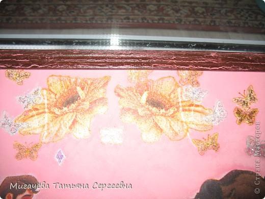 Рама одношаковый кракелюр,две салфеточки,глиттеры,подрисовка гелиевым ручками для блёстка. фото 2