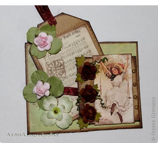 Открытка из упаковочного картона , скрап-бумаги, распечатки на фото-бумаге фото 1