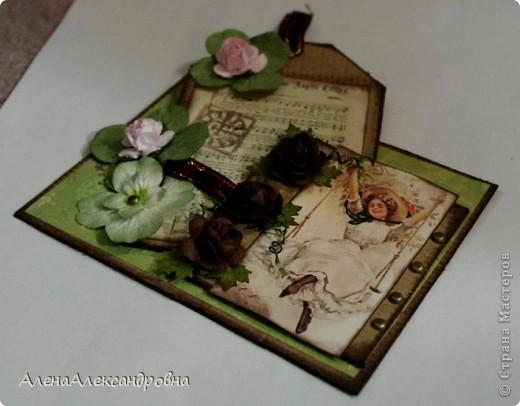 Открытка из упаковочного картона , скрап-бумаги, распечатки на фото-бумаге фото 3