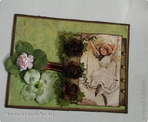 Открытка из упаковочного картона , скрап-бумаги, распечатки на фото-бумаге фото 4