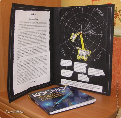 """У сына по """"окружающему миру"""" (1 класс) было задание – понаблюдать и зарисовать как меняется положение на небе созвездия Большой Медведицы в разные времена года. Конечно, можно воспользоваться очень удобной и простой программой построения карты звёздного неба http://www.astronet.ru/db/map/  Вводишь пункт наблюдения, дату, время, часть неба (юг, север) и вперёд – остаётся только срисовать нужное созвездие. Но ребёнку это не понять. Тупо перерисовать или списать – нет, так учится не интересно, надо ПОНЯТЬ. В результате поисков объяснений доступных детскому восприятию, наткнулась на очень полезный сайт http://www.astrogalaxy.ru/kind11.html Рекомендую! В результате  появилась идея сделать вращающуюся модель Большой Медведицы. Вот как она у нас получилась.   фото 5"""