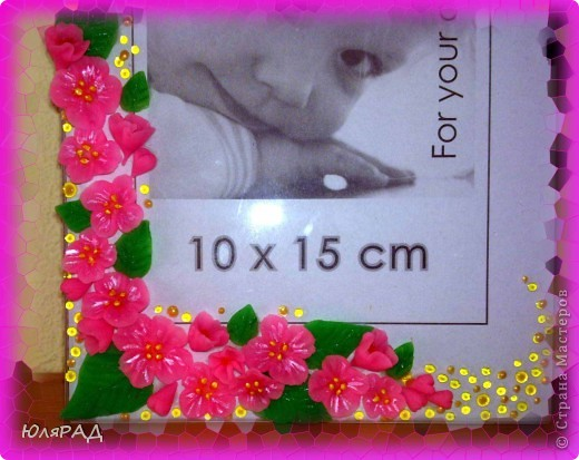 Цветочки и листики из холодного фарфора, украсила акриловыми и витражными контурами))) фото 3