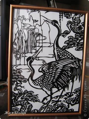 Это подарок для свекрови. Есть приметы в вышивке, что ЖУРАВЛИ (желательно пара журавлей рядом с сосновой веткой или деревцем) - один из самых главных символов здоровья. Вот я и решила вырезать ей такую картину.  фото 1