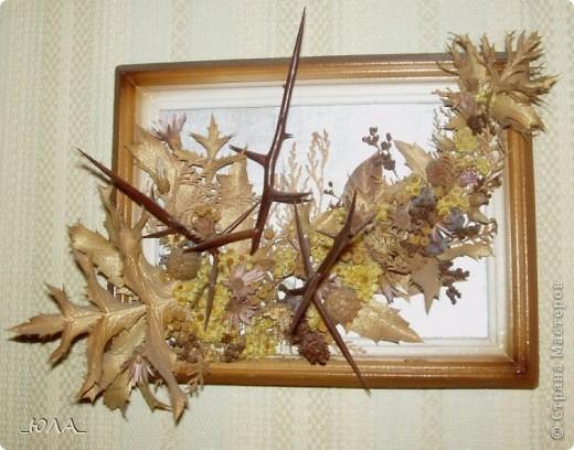 Хочу показать некоторые мои работы из сухоцветов. Может кому-то приглянутся отдельные идеи :). Увлекалась этим давно - лет 8 назад. Кое-какие работы оказались недолговечными, а многие радуют и по сей день - разве что чуть поблекли немножко.  Очень люблю этот венок. Растения закрепляла на сплетенном из ивовых веток венке. В венок вошли цветки лука-лизуна, молюцела, кермек, лавр, коробочки дильфиниума и всяческие колосочки, которые удалось собрать на природе, веточки туи окрашены серебряным лаком (для волос ))) ). Правда там еще вплетены шарики на проволочке покупные (для новогоднего декора продавались, но я использовала в других поделках ) Венок получился долгожитель - лет 7 выдержал точно (есть ли сейчас - не помню, т.к. делала его на подарок) фото 7