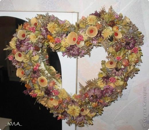 Хочу показать некоторые мои работы из сухоцветов. Может кому-то приглянутся отдельные идеи :). Увлекалась этим давно - лет 8 назад. Кое-какие работы оказались недолговечными, а многие радуют и по сей день - разве что чуть поблекли немножко.  Очень люблю этот венок. Растения закрепляла на сплетенном из ивовых веток венке. В венок вошли цветки лука-лизуна, молюцела, кермек, лавр, коробочки дильфиниума и всяческие колосочки, которые удалось собрать на природе, веточки туи окрашены серебряным лаком (для волос ))) ). Правда там еще вплетены шарики на проволочке покупные (для новогоднего декора продавались, но я использовала в других поделках ) Венок получился долгожитель - лет 7 выдержал точно (есть ли сейчас - не помню, т.к. делала его на подарок) фото 4