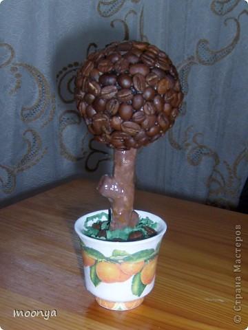 думала не получится, а вроде бы ничего смотрится, впервые попробовала технику декупажа ,это была старая кофейная чашечка, а стал апельсиновый горшок для кофейного дерева. фото 1