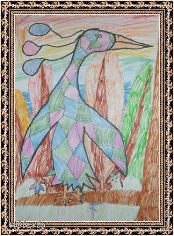 Этот вернисаж посвящен картинам моей дочери Вероники. Она посещает хужественную школу дошкольное отделение, ей очень нравиться рисовать. Надеюсь вам понравиться ее творчество... Любуемся.... Птичка певчия (фломастеры, карандаши) фото 8