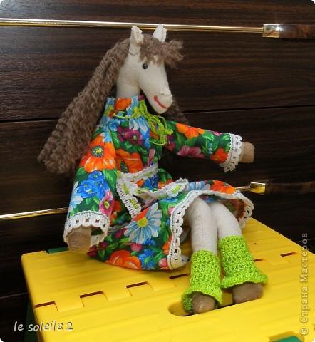 Сшила в подарок вот такую тильду-лошадь. Шляпка и гетры вязаные. Платье из бязи. фото 5