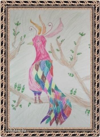 Этот вернисаж посвящен картинам моей дочери Вероники. Она посещает хужественную школу дошкольное отделение, ей очень нравиться рисовать. Надеюсь вам понравиться ее творчество... Любуемся.... Птичка певчия (фломастеры, карандаши) фото 1