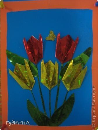 тюльпаны символ Наурыза в технике оригами делали с 3 кл. фото 2