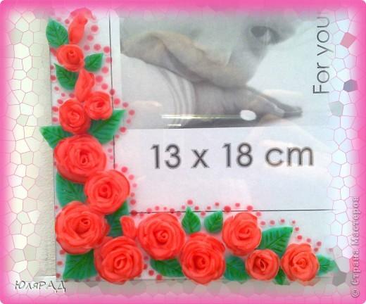 Ещё один вариант оформления))) Розы из холодного фарфора, сверху украсила их витражными красками для придания объёма. фото 2