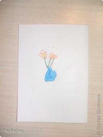 """""""Мимоза"""" - самостоятельная работа  Материал: бумага, картон, ладошки и пальчики сынишки , гуашь, кисточка, фигурный дырокол, цветная бумага, клей-карандаш Выполнено: 24.02.2011г. Сынульке 5л11м  фото 15"""