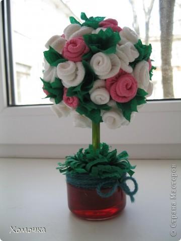 У меня расцвело еще одно дерево из роз, только другого цвета