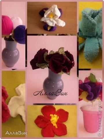 Осуществилась моя давняя мечта по пошиву цветов из ткани. А если конкретней, цветы шили из флиса и вельвета. фото 1