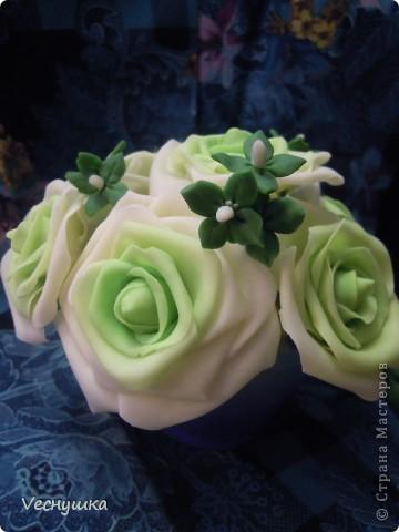 Хотела сделать зеленые розы/, но по-моему переборщила с цветом. Они какие-то не натуральные получились фото 1