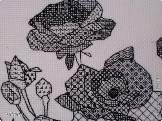 Блэкворк схема вышивки розы