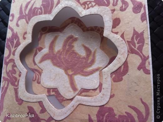 Муки творчества. Это когда что то хочется сделать такое, чтобы не повторяться и не повторять за кем то. И еще при этом красиво.  Материалы и инструменты: бумага акварельная (основа для открытки), бумага оберточная, пергамент, тесьма, кружево, цветок самодельный (сердцевина жемчуг), белая акриловая краска, прозрачный кракелюрный лак под акриловую краску, бежевые тени для век, фигурный дырокол, машина для вырубки и тиснения, скотч и клей. фото 2