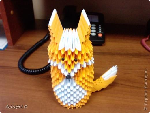модульное оригами лисенок