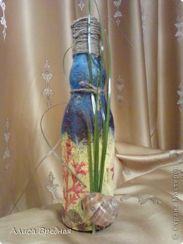 Всем привет))) Вот и я наконец-то сделала себе бутылочку в морской тематике))) Большое спасибо Всем мастерицам заидеи и  вдохновение)))) фото 1
