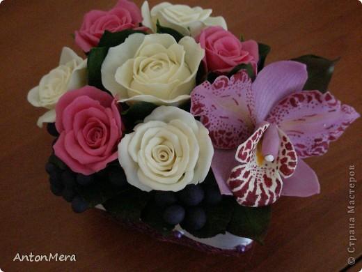 розы и орхидея  фото 1