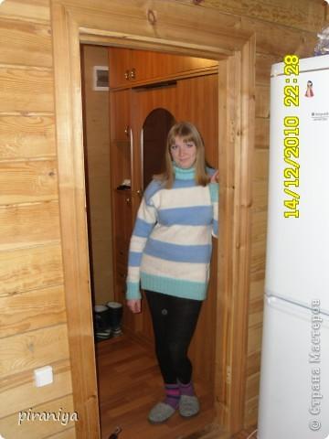 простая кофточка полосатка на зиму фото 2