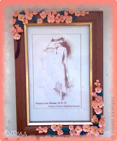 Цветочки из холодного фарфора, веточку оформила витражными контурами в несколько слоёв. фото 3