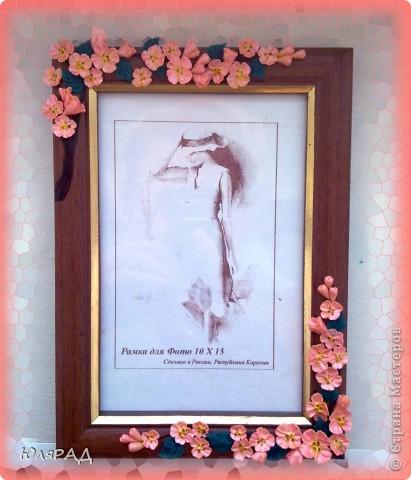 Цветочки из холодного фарфора, веточку оформила витражными контурами в несколько слоёв. фото 1