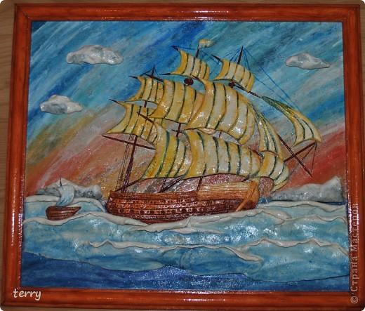 Это мой вклад во флотилию нашей любимой Страны. Низкий поклон Ларисе Ивановой за её титанический труд в создании мастер-класса по этому панно! Очень уж захотелось поучиться у настоящего мастера! Вот результат. фото 1