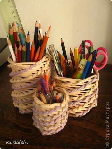 Поделка изделие 8 марта День рождения Начало учебного года Плетение Органайзеры для нас любимых   Бумага газетная Бумага журнальная Клей фото 2