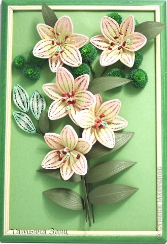 Лилии и хризантемы. Лилии сделаны по мастер-классу Пылинки. Спасибо за опыт.  фото 1
